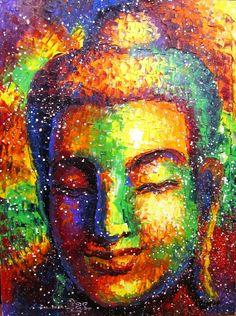 Buddha art, Buddha Face, Buddha Oil Painting