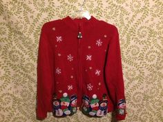 Womens Christmas sweater-XL-Red snowman snowflake cardigan beaded Fashion Bug #FashionBug #Cardigan #christmas