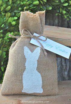 Rabbit wrapping! bloom designs: Burlap Bunny Bags