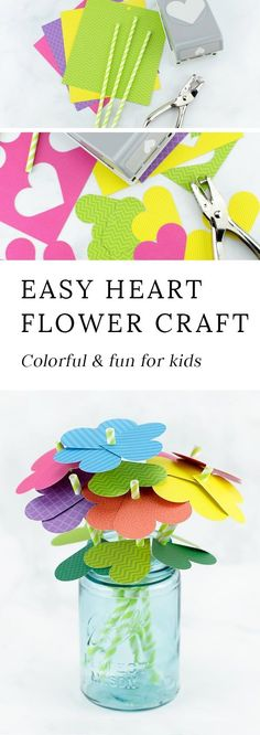 Just in time for spring, kids of all ages will enjoy making a vibrant bouquet of paper heart flowers with colorful scrapbook paper, green paper straws, and a heart paper punch. #heartcrafts #springcrafts #easyflowercrafts #flowercraftsforkids #simplepaperflowers via @https://www.pinterest.com/fireflymudpie/