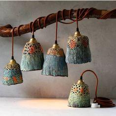 Ceramic pendant lights and pottery handmade by Madeline King on the Sunshine Coast Australia. Small batches of handmade ceramic lamp shades, ceramic lamps, pottery pendant lights, ceramic plant pots, ceramic bells and ceramic decor. Ceramic Light, Ceramic Pendant, Ceramic Clay, Ceramic Pottery, Pottery Art, Ceramic Lamps, Pottery Ideas, Pottery Teapots, Pottery Wheel