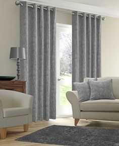 Marble Eyelet Silver Grey Curtains Plain Ring Top With Eyelets 66 X 72
