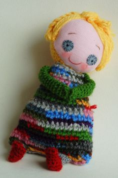 Handmade doll with personality smiling plush toy Jill. by KnitDjin, $50.00