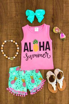 "Pink ""Aloha Summer"" Pom Pom Short Set - Little Princess - Kids Outfit Cute Baby Girl Outfits, Cute Outfits For Kids, Toddler Outfits, Little Girl Fashion, Toddler Fashion, Little Princess, Princess Room, Moda Kids, Outfits Niños"