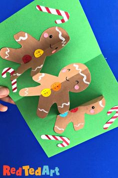 Easy Gingerbread Men Pop Up card made from paper chains for 3d Christmas card fun