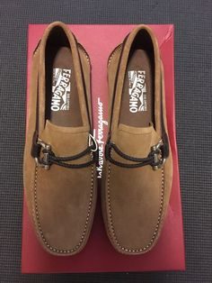 f2428bb6ce1 Salvatore Ferragamo Mens Front Seude Loafers Camel Size 6EEE  fashion   clothing  shoes