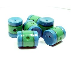 Polymer Clay Blue and Green Striped Tube Beads  by BarbiesBest, $8.00