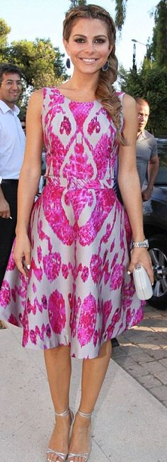 Who made Maria Menounos' purple print dress and silver sandals that she wore in Athens?