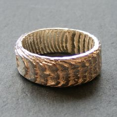 Band Ring in Sterling Silver Cast in Cuttlefish Bone - Fully Hall Marked £45.00
