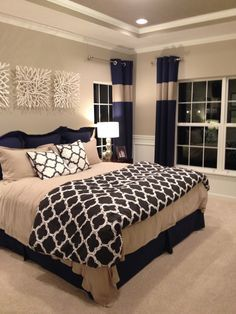 Master bedroom is the main bedroom in your home. As its name, it should get the best design and decor for the interior. There many parts of the master bedroom that you can decor besides the bed, like Master Bedroom Design, Dream Bedroom, Home Bedroom, Bedroom Designs, Bedroom Furniture, Master Bedrooms, Furniture Decor, Modern Bedroom, Navy Master Bedroom