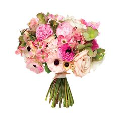 Pink wedding bouquet of peonies, dogwood, scabiosa, ranunculus, viburnum, hellebores, and garden roses