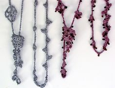 Trailing Vine Freeform Lariat Necklace - Vashti Braha crochet patterns