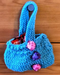 Lovely small knitted bag of Easter treats. Small Cushions, Story Arc, Wedding Car, Easter Treats, Knitted Bags, Small Bags, Cover Photos, Hand Knitting, Rainbow