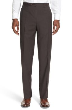 Canali '13000' Regular Fit Flat Front Check Wool Trousers Brown