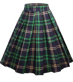 Dressever Women's Vintage A-line Printed Pleated Flared Midi Skirts - Christmas Deesserts Midi Skirt With Pockets, Plaid Pleated Skirt, Plaid Skirts, Flared Skirt, Pleated Skirt Pattern, Green Plaid Skirt, Midi Flare Skirt, Midi Skirts, Cute Skirts