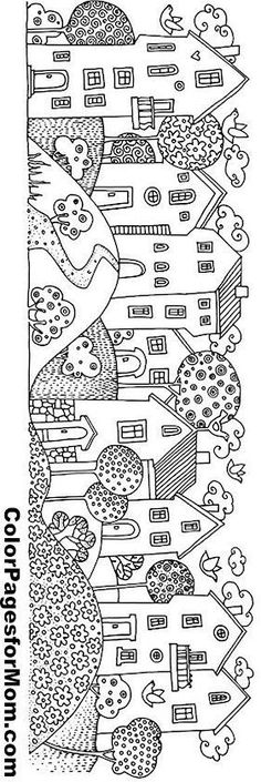 Maisons coloriage, coloriage village, coloriage adulte,