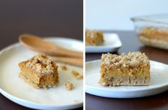 Gluten Free Pumpkin Bars w/ Crumble Topping (try using coconut milk cream instead of the greek yogurt for dairy free)