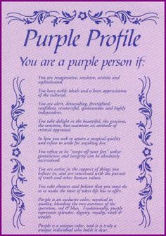 Purple Profile -  This is so totally me!