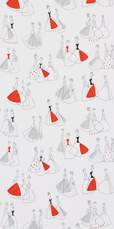50s wallpaper, I love this pop of color & dresses