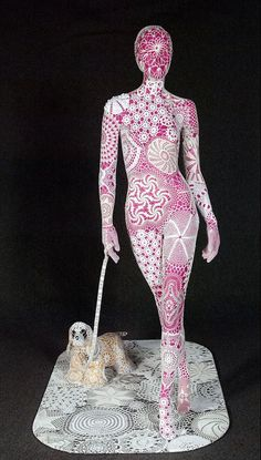 "Lace ""lady with a dog"" by portuguese artist Joana Vasconcelos"