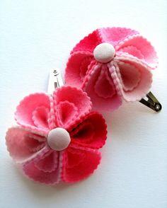 Flower Hair Accessories. Felt Flowers. Snap Clip Set.