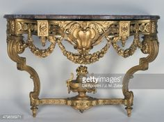 Louis XVI style Second Empire carved and gilt wood console table, Maison Grohe…