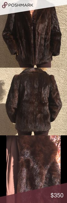 """Brown MINK FUR Dk Brown MINK Fur with SOLID Mink Collar. Ribbed Mink Fur. Size 10-12. (No Label) 2 Pockets. No Closure. Elastic Wrists.          GREAT Pre-Loved Condition! (Model is size 6-8 and 5'7"""" tall) Jackets & Coats"""