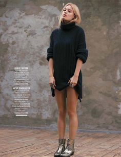 Sweater dress and metallic boots