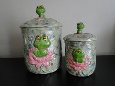 Vintage Frog Canisters with Lids Set of 2 by TheNicNacNook on Etsy, $33.00