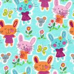 Michael Miller Fabrics - Kids - Some Bunny Loves You in Aqua - 8.25