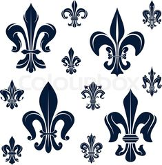 Stock vector of 'French royal fleur-de-lis dark blue heraldic symbols with ornamental compositions of victorian leaf scrolls and curly tendrils. Heraldry, history, coat of arms, design '