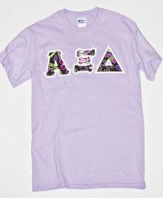 Vera bradley blue lagoon print stitch letter alpha xi for Cute greek letter shirts