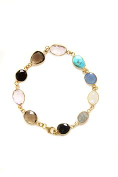 Saachi by Inthings Multi Gemstone Bracelet in 18k Gold Over Sterling Silver  LOVE!