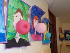 Large self portrait with balloon for bubble gum