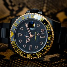 Rolex GMT Master II 116710 ADLC Gold Custom Label Noir Design Black Rolex, Rolex Gmt Master, Custom Labels, Omega Watch, Photo And Video, Watches, Gold, Accessories, Instagram