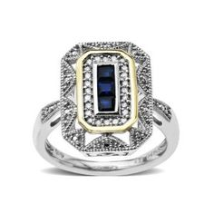 Amazon.com: Sterling Silver and 14k Yellow Gold, Blue Sapphire Art Deco Style Ring (0.12cttw, I-J Color, I3 Clarity): Jewelry