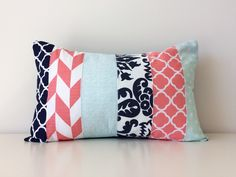 Navy, White, Teal, Coral Pink, Lumbar Pillow Cover, Modern Decor, Patchwork, 12x18, Mixed Patterns, Geometric, Floral, Girls Nursery by BlackcatmeowDesigns on Etsy