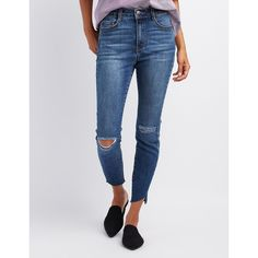 Refuge Hi-Rise Frayed Hem Skinny Jeans ($25) ❤ liked on Polyvore featuring jeans, indigo, high rise skinny jeans, ripped skinny jeans, denim skinny jeans, super distressed skinny jeans and distressed jeans