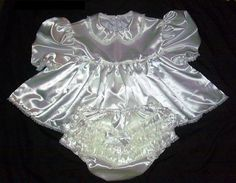 Adult sissy baby shorty dress and panties/diaper cover White