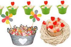 Resultado de imagen de CENTRO DE CHUCHES, CENTRO DE GOLOSINAS Planter Pots, Cake, Desserts, Food, Skewers, Goodies, Clouds, Centerpieces, Pies