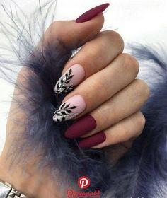 36 Perfect and Outstanding Nail Designs for Winter dark color nails; nude and sparkle nails; Burgundy Nail Designs, Classy Nail Designs, Burgundy Nails, Winter Nail Designs, Red Nails, Nail Art Designs, Nails Design, Matte Nails, Matte Gel