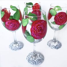 KY Derby Wine Glass Roses Wine Glass Run for the by AudraStyleArt