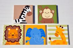 5 Piece Original Painting Canvas Animal Nursery Set- Lion, Monkey, Elephant…