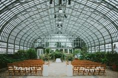 Garfield Park Conservatory Wedding Ceremony in the Greenhouse, photo by Galaxie Andrews