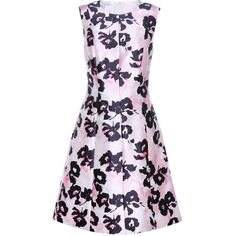 Oscar De La Renta Floral-printed silk and cotton dress (146,915 INR) ❤ liked on Polyvore featuring dresses, floral print dress, light pink floral dress, silk dress, panel dress and cotton day dresses