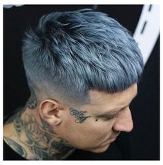 Grey Hair Color Men, Grey Hair Men, Hair Color Blue, Cool Hair Color, Mens Blue Hair, Men Hair, Silver Blue Hair, Dark Blue Hair, Pelo Color Borgoña