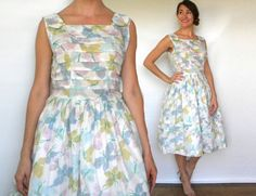 50s Floral Cotton Day Dress | Watercolor Print Dress Medium by charlialana from Charli Alana Vintage. Find it now at http://ift.tt/1OtD2xr!