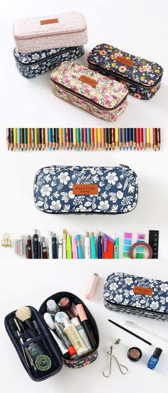 The Pour Vous Block Pouch is a versatile multi-purpose pouch with beautiful floral patterns! This pouch has a deep compartment to store many items at once, plus 2 open pockets to help you organize them effectively. This pouch is excellent for carrying as all your items will be well protected as the pouch is well-padded.