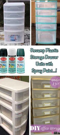 Revamp plastic storage drawer units by spraying it your favorite color. 30 Low-Budget Makeovers You Could Do With Spray Paint Do It Yourself Furniture, Do It Yourself Home, Diy Furniture, Furniture Design, Craft Organization, Craft Storage, Organizing, Makeup Storage Bins, Cheap Makeup Organization