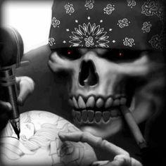 this skull is so motha fuckin bad ass Crane, Lettrage Chicano, Chicanas Tattoo, Reaper Tattoo, Tattoos Realistic, Don't Fear The Reaper, Grim Reaper, Lowrider Art, Tattoo Equipment